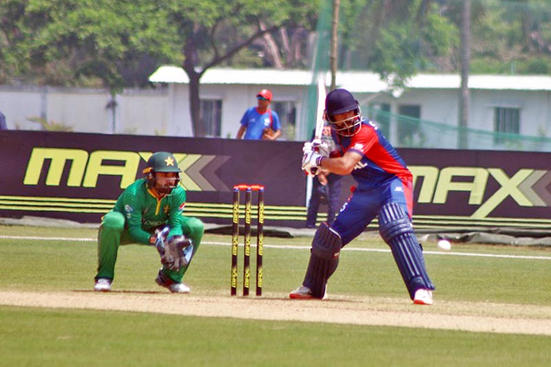 A Nepali batsman shapes to play a shot against Pakistan during the ACC Emerging Teams Asia Cup in Bangladesh, on Monday, March 27, 2017. Courtesy: Raman Shiwakoti