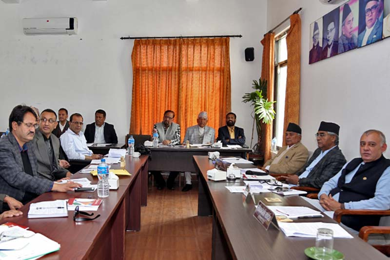 Leaders of the Nepali Congress attend party's Central Working Committee meeting at the Central Office in Sanepa on Sunday, March 26, 2017. Photo: RSS
