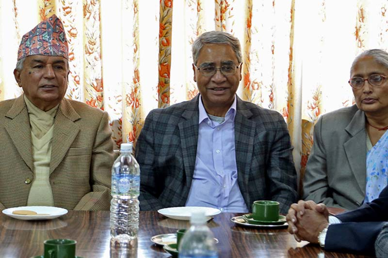 (From left) Nepali Congress senior leader Ram Chandra Paudel, President Sher Bahadur Deuba and Treasurer Sita Devi Yadav attend a meeting of the current and former office-bearers held at the NC's Parliamentary Party office in Singhadarbar, Kathmandu, on Tuesday, March 14, 2017. Photo: RSS