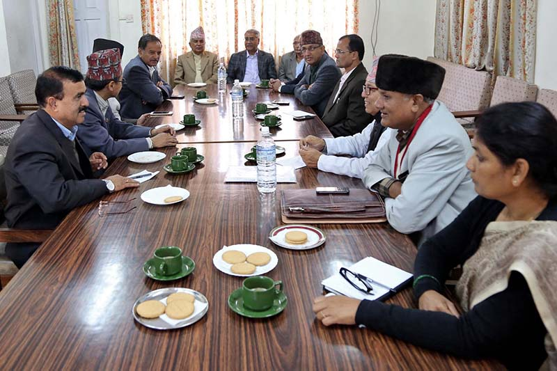 FILE: A meeting of the Nepali Congress' current and former office-bearers held at the NC's Parliamentary Party office in Singhadarbar, Kathmandu, on Tuesday, March 14, 2017. Photo: RSS