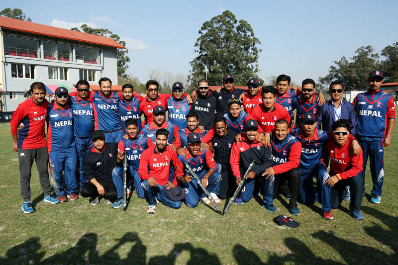 Nepal's National Cricket team pose for a photo after defeating Kenya during the ICC World Cricket League Championship at the TU Cricket Stadium, on Monday, March 13, 2017. Photo: RSS