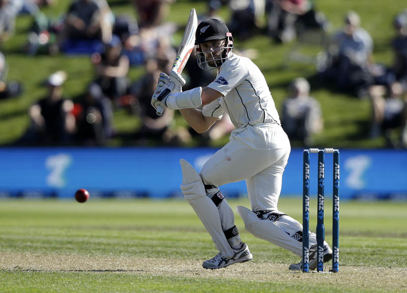 New Zealand's Kane Williamson watches the ball while batting against South Africa during the first cricket test at University Oval, Dunedin, New Zealand, Thursday, March 9, 2017. Photo: AP