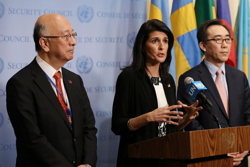 US ambassador to the United Nations Nikki Haley speaks while Japan's UN Ambassador Koro Bessho (left) and South Korea's UN Ambassador Cho Tae-yul (right) look on during a press encounter after meeting on North Korea's launch of ballistic missiles at the United Nations in New York, US, on March 8, 2017. Photo: Reuters