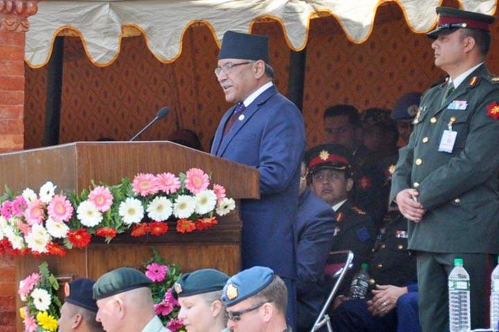 Prime Minister Pushpa Kamal Dahal inaugurates the Exercise Shanti Prayas III at Panchkhal. Photo: PM's Secretariat