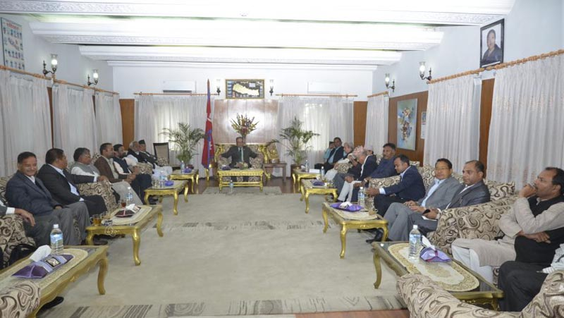 Prime Minister Pushpa Kamal Dahal chairs a meeting of ruling parties and the agitating United Democratic Madhesi Front, in Kathmandu, on Friday, March 31, 2017. Photo: PM's Secretariat