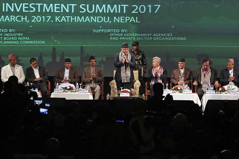 Prime Minister Pushpa Kamal Dahal (centre) greets delegates at the Nepal Investment Summit 2017 in Kathmandu, on Thursday, March 2, 2017. Photo: AP