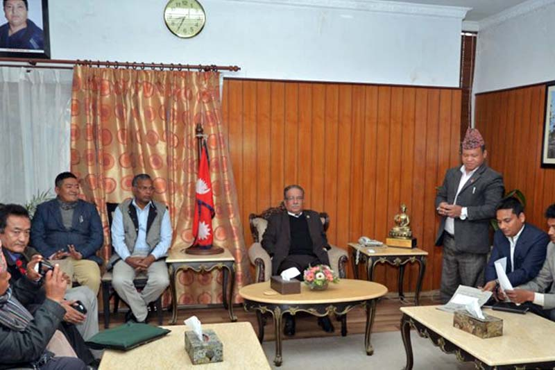 Prime Minister Pushpa Kamal Dahal in a meeting with the representatives of Nepal Federation of Indigenous Nationalities (NEFIN) at his residence in Baluwatar on Thursday, march 2, 2017. Photo Courtesy: PM's Secretariat