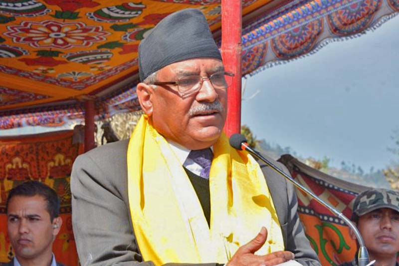 Prime Minister Pushpa Kamal Dahal addresses the inaugural ceremony of a renovated Buddhist monastery at Ghyang Sukathokar VDC of Dolakha district on Tuesday, March 7, 2017. Photo Courtesy: PM's Secretariat