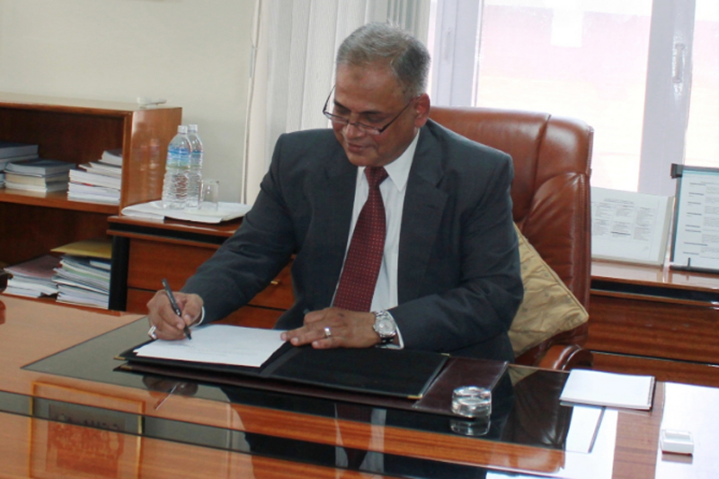 Pakistan's Amjad Hussain B Sial assumes the office of the South Asian Association for Regional Cooperation (SAARC) Secretary-General in Kathmandu, on Wednesday, March 1, 2017. Photo: SAARC Secretariat