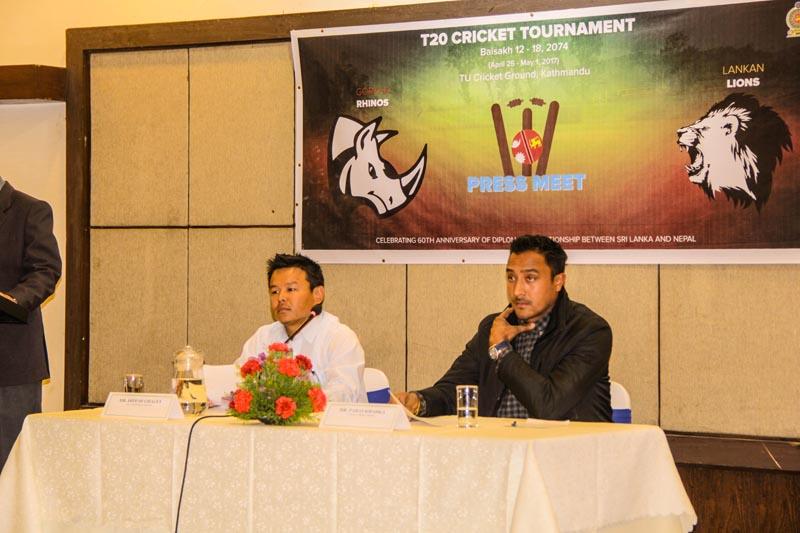 Nepal's national cricket team skipper Paras Khadka (right) attends a press meet in Kathmandu, on Wednesday, March 22, 2017. Photo: Sanjeev Kumar Shah