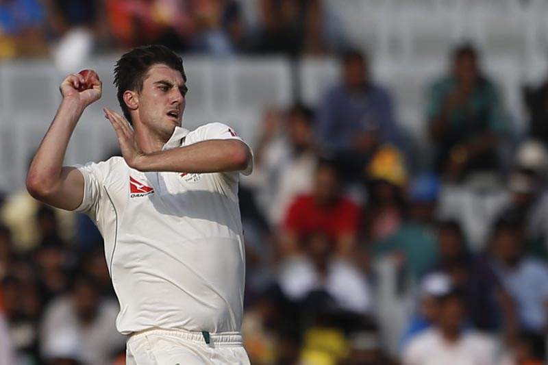 Australia's Pat Cummins bowls during the second day of their third test cricket match against India in Ranchi, India, Friday, March 17, 2017. Photo: AP