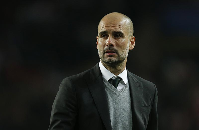 Manchester City manager Pep Guardiola looks dejected after the game. Photo: Reuters