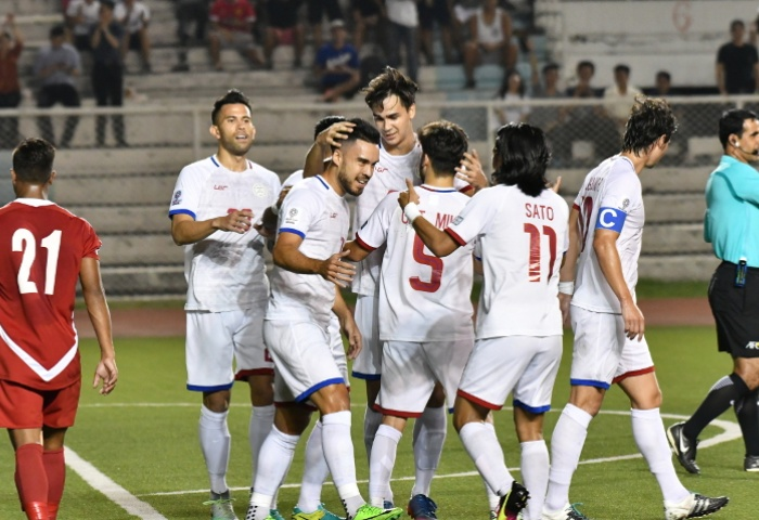 Philippines players rejoice after defeating Nepal in Asia Cup Qualifers. Photo: PFF