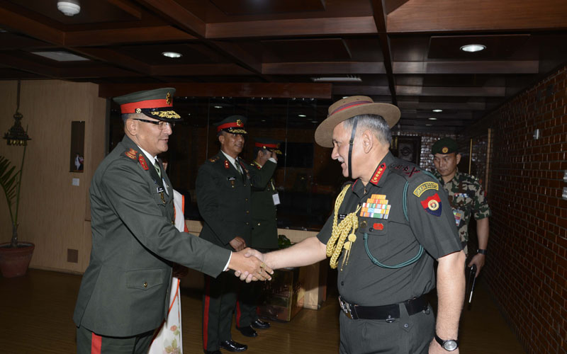 Nepal Army Lieutenant General Purna Chandra Thapa sees off the visiting Indian Army Chief, General Bipin Rawat at the Tribhuvan International Airport in Kathmandu on Friday, March 31, 2017. Photo: NA DPR