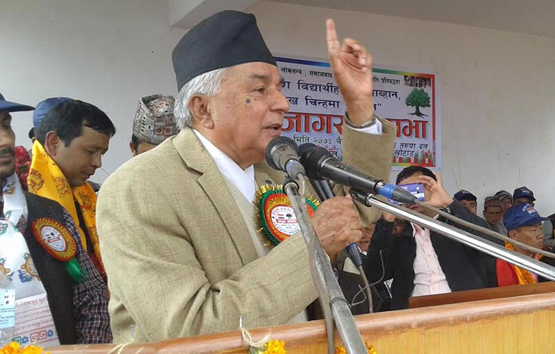 Senior Nepali Congress leader Ram Chandra Paudel speaking at a programme organised in Diktel, Khotang, on Tuesday, March 28, 2017. Photo: THT