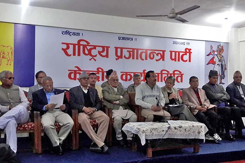 Rastriya Prajatantra Party holds Central Committee meeting in Kathmandu on March 18, 2017. Photo: Mohan Shrestha/Twitter