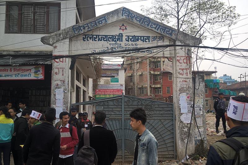 Students wait outside Ratna Rajya Laxmi Campus, in Pradarshani Marg, Kathmandu, on Tuesday, March 28, 2017. Photo: Sureis/THT Online