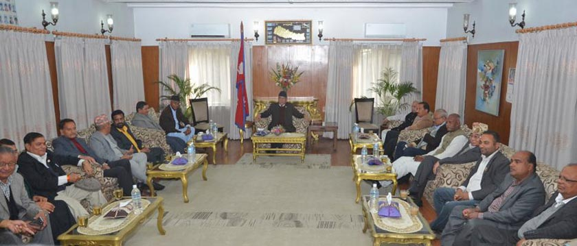 Leaders of ruling alliance and UDMF parties holding a meeting at the PM's residence in Baluwatar. Photo: PM's Secretariat
