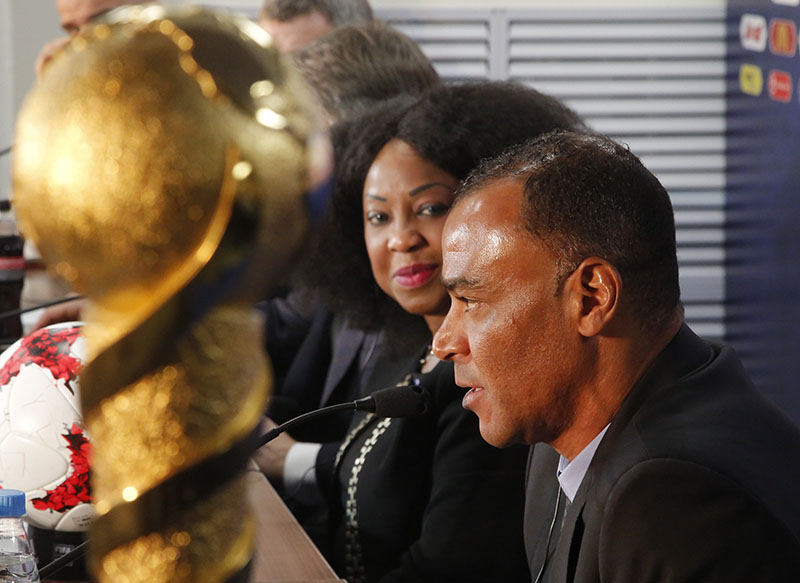 Former Brazilian soccer player Cafu (right) and FIFA Secretary General Fatma Samoura attend a news conference after a ceremony marking 100 days until the start of the FIFA Confederations Cup 2017 at the new 'Saint Petersburg' stadium at the Krestovsky Island in St.Petersburg, Russia, on Thursday, March 9, 2017. Photo: AP