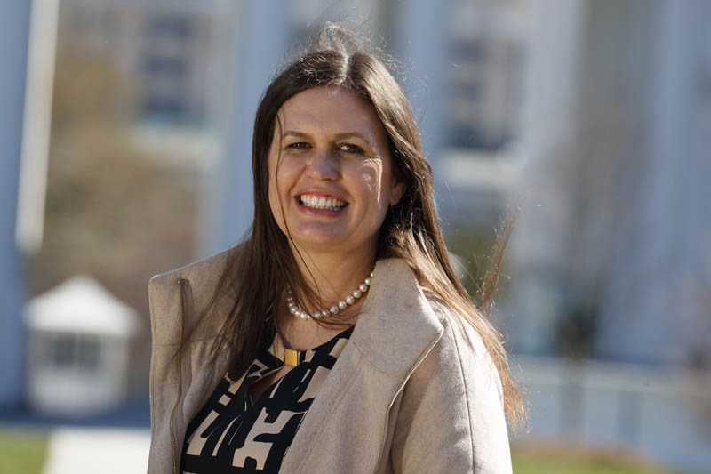 In this March 8, 2017, photo, White House deputy press secretary Sarah Huckabee Sanders stands in front of the White House in Washington. Photo: AP