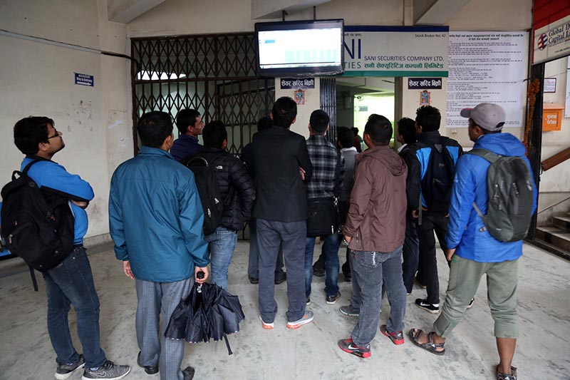 Investors throng a securities agency on Wednesday, March 29, 2017. Nepal Stock Exchange (Nepse) index surged by over 5 per cent on Tuesday. Photo: RSS