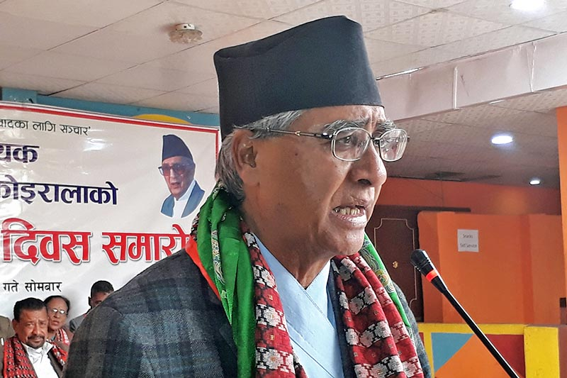 Nepali Congress President Sher Bahadur Deuba speaking at a programme in Bhaktapur, on Monday, March 20, 2017. Photo: RSS