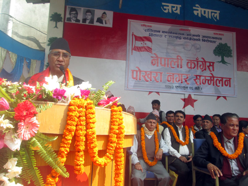 Nepali Congress President Sher Bahadur Deuba address the party's Pokhara Municipal Assembly in Pokhara of Kaski district on Thursday, March 9, 2017. Photo: Rishi Ram Baral