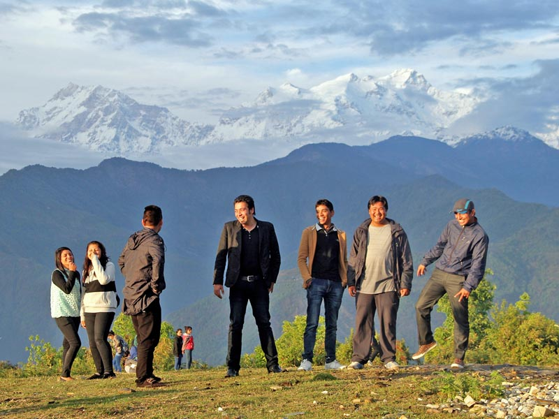 Tourists enjoy sightseeing in Kaulepani of Lamjung district, on Sunday, March 19, 2017. Photo: RSS