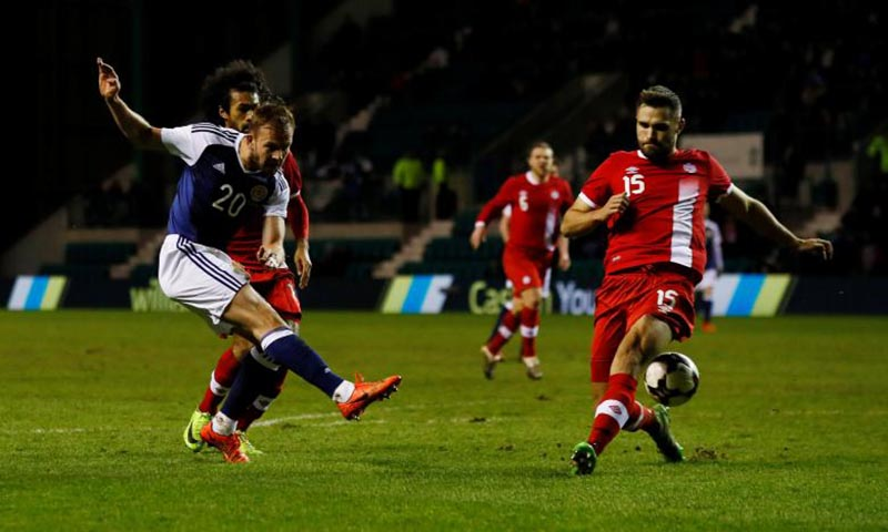 The image shows International Friendly football match between Scotland and Canada at Easter Road, Edinburgh, Scotland, on Thursday March 22, 2017. Photo: Reuters