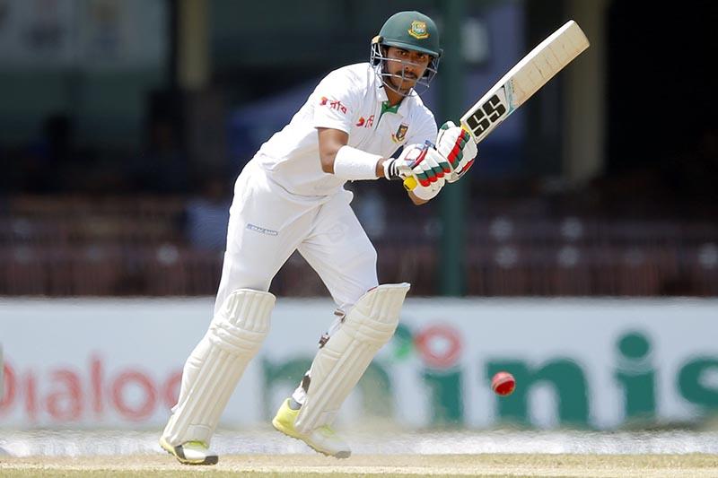 Bangladeshi batsman Soumya Sarkar watches his shot against Sri Lanka on day five of their second test cricket match in Colombo, Sri Lanka, Sunday, March 19, 2017. Photo: AP