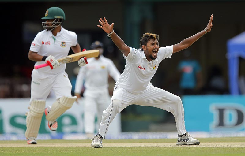 Sri Lanka's Suranga Lakmal unsuccessfully appeals for the wicket of Bangladesh batsman Tamim Iqbal, left, on day two of their second test cricket match in Colombo, Sri Lanka, Thursday, March 16, 2017. Photo: AP