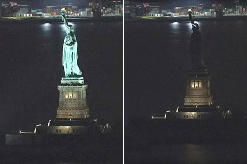A combination of still images taken from a video shows the Statue of Liberty in New York before and during the power outage on March 7, 2017. Photos: AP