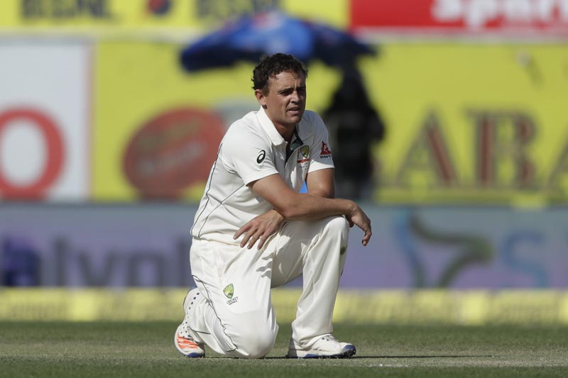 Australia's Steve O'Keefe reacts after makes an unsuccessful appeal during the second day of their fourth test cricket match against India in Dharmsala, India, Sunday, March 26, 2017. Photo: AP