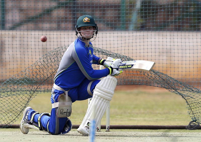 Australia's captain Steve Smith bats in the nets during a training session ahead of their second cricket test match against India in Bangalore, India, Wednesday, March 1, 2017. Photo: AP