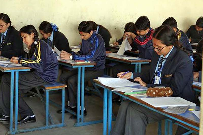 Students attend the Secondary Education Examinations at a centre in Kathmandu on Thursday, March 16, 2017. Photo: RSS