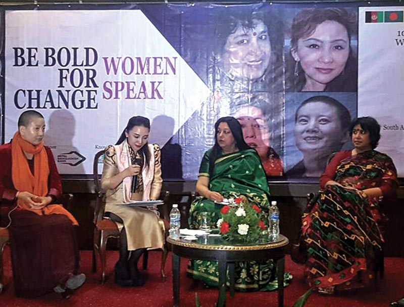 (From right) Popular novelist Taslima Nasrin from Bangladesh, industrialist Rita Singh from India, owner of Tech Co Ltd  Junhua Wu from China and philanthropist Ani Choying Drolma, during the panel discussion on the theme of international womenu2019s day u2018Be Bold For Changeu2019, in Kathmandu, on Monday. Photo courtesy: SAWDF