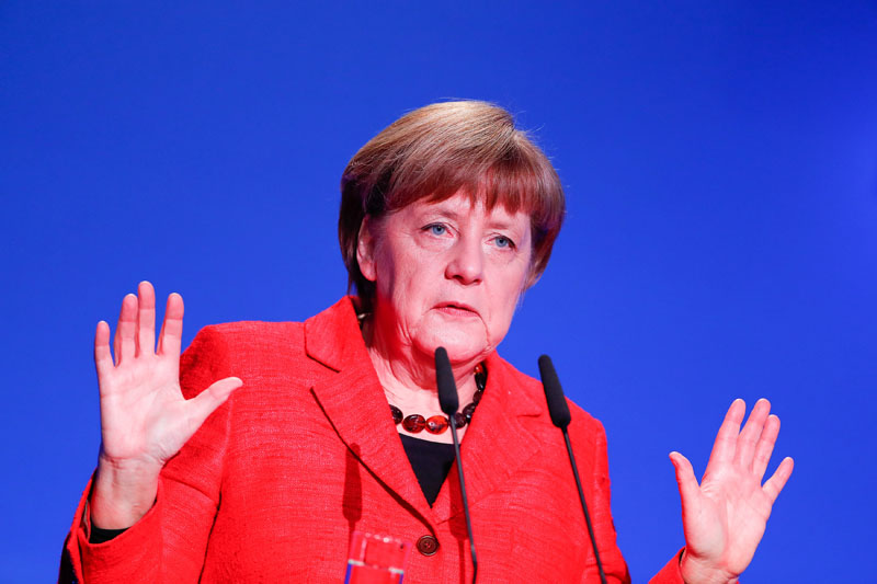 German Chancellor Angela Merkel gives a speech at the demographic summit in Berlin, Germany, on March 16, 2017. Photo: Reuters