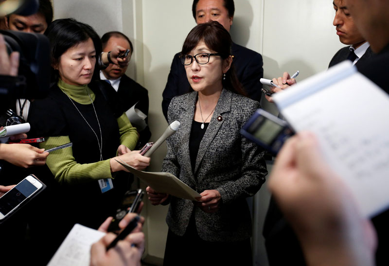 Japan's Defense Minister Tomomi Inada (centre) speaks to the media after reports on North Korea's missile launch, at the parliament building in Tokyo, Japan, on March 6, 2017. Photo: Reuters