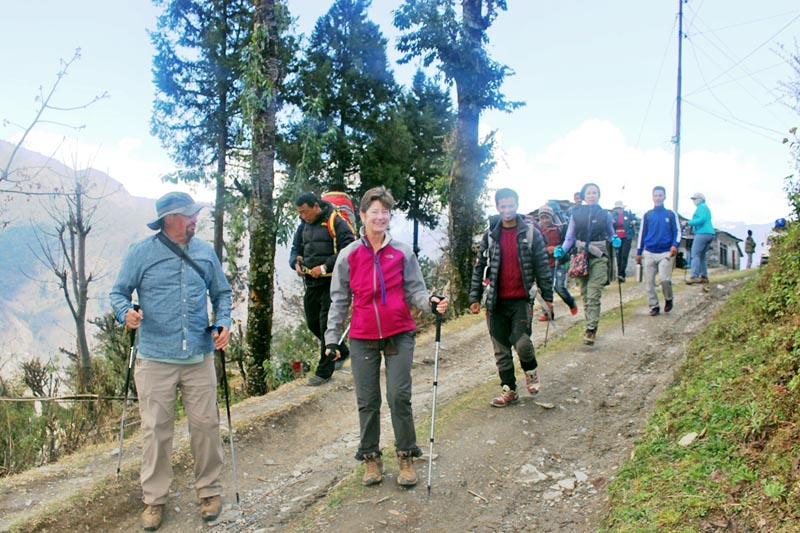 Tourists are seen enjoying trekking along the Dhaulagiri-Century trekking trail in Jhi of Myagdi district, on Friday, March 24, 2017. Photo: RSS