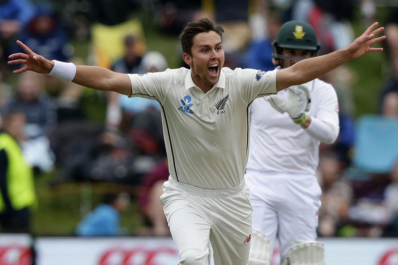 New Zealand's Trent Boult celebrates after dismissing South Africa's Stephen Cook for no score during the first cricket test at University Oval, Dunedin, New Zealand, Friday, March 10, 2017. Photo: AP