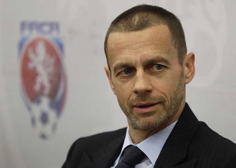 UEFA president Aleksander Ceferin addresses media at a news conference in Prague, Czech Republic, on Tuesday, March 21, 2017. Photo: AP