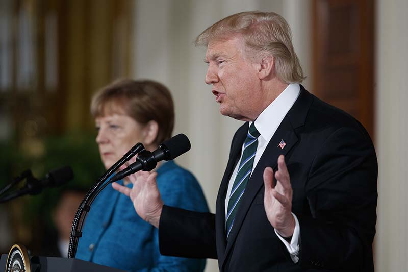 US President Donald Trump speaks during a news conference with German Chancellor Angela Merkel in the East Room of the White House in Washington, on Friday, March 17, 2017. Photo: AP
