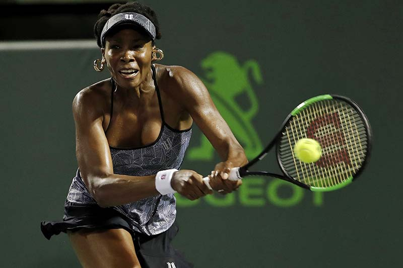 Venus Williams of the United States hits a backhand against Angelique Kerber of Germany (not pictured) on day nine of the 2017 Miami Open at Crandon Park Tennis Centre in Miami, Florida on March 29, 2017. Photo: USA TODAY Sports via Reuters