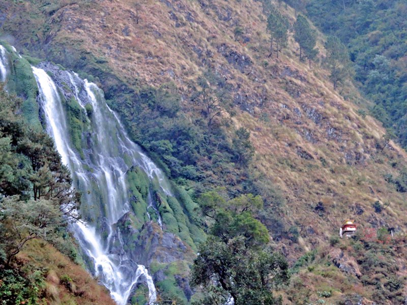 A picturesque waterfall at Narchanma of Myagdi district along the Annapurna trekking trail as captured on Friday, March 31, 2017. Photo: RSS