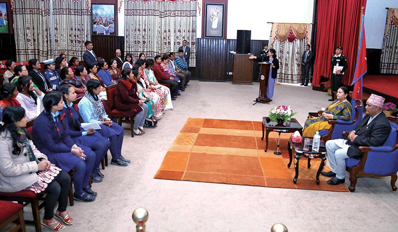 Women and schoolgirls holding an interaction in the presence of President Bidya Devi Bhandari, in Shital Niwas, Kathmandu, on Sunday, March 6, 2017. Photo: RSS