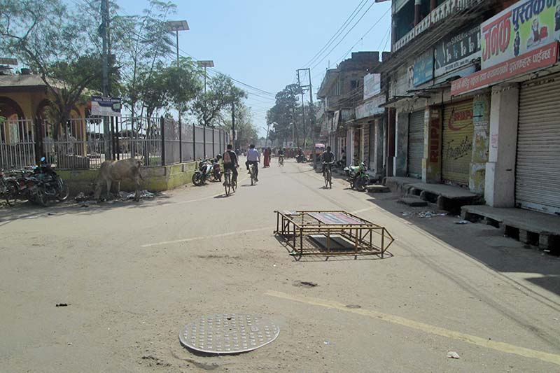 A street wears a deserted look following a strike called by the United Democratic Madhesi Front in Janakpur on Tuesday, March 7, 2017. Photo: Brij Kumar Yadav/THT