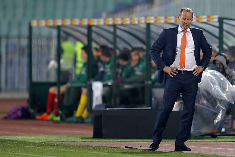 Netherlands' coach Danny Blind reacts during their World Cup Group A qualifying soccer match against Bulgaria, at the Vassil Levski stadium in Sofia, Bulgaria, on Saturday, March 25, 2017. Photo: AP