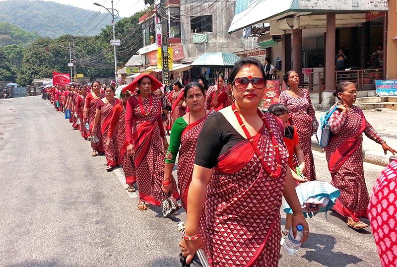 Woman take part in a rally on the occasion of 14th Fewa New Year Festival 2017 in Pokhara, on Tuesday, April 11, 2017. Photo: Rup Narayan Dhakal