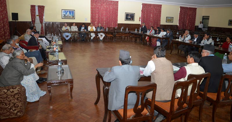 Leaders of various political parties taking part in the all-party meeting called by Prime Minister Pushpa Kamal Dahal at Baluwatar, in Kathmandu, on Friday, April 28, 2017. Photo: PM's Secretariat