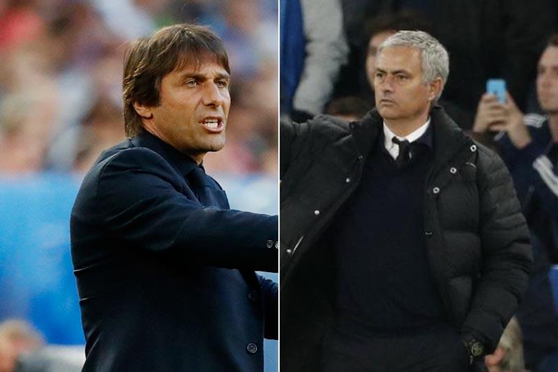 File: Chelsea manager Antonio Conte and Man Utd manager Jose Mourinho. Photos: Reuters.